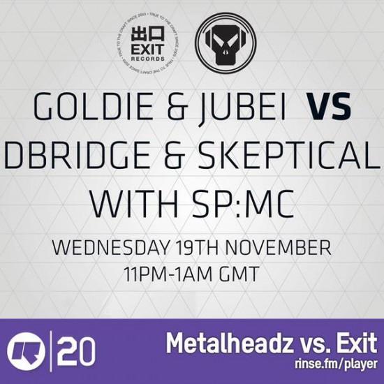 Jubei, dBridge, Skeptical and SPMC - Metalheadz vs Exit Records on Rinse FM 2014-11-19